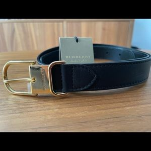 Burberry Black Leather Gold Buckle Belt-Brand New